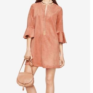 BCBG faux suede ruffle sleeve shift dress